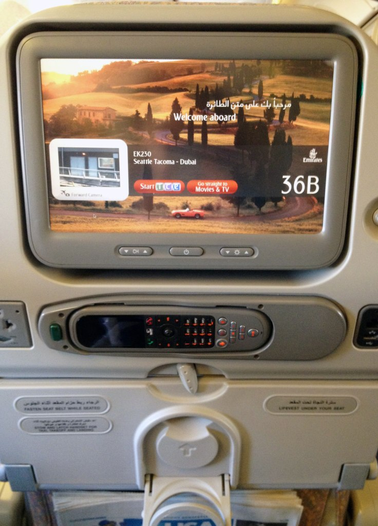 Entertainment screen on board flight to Dubai